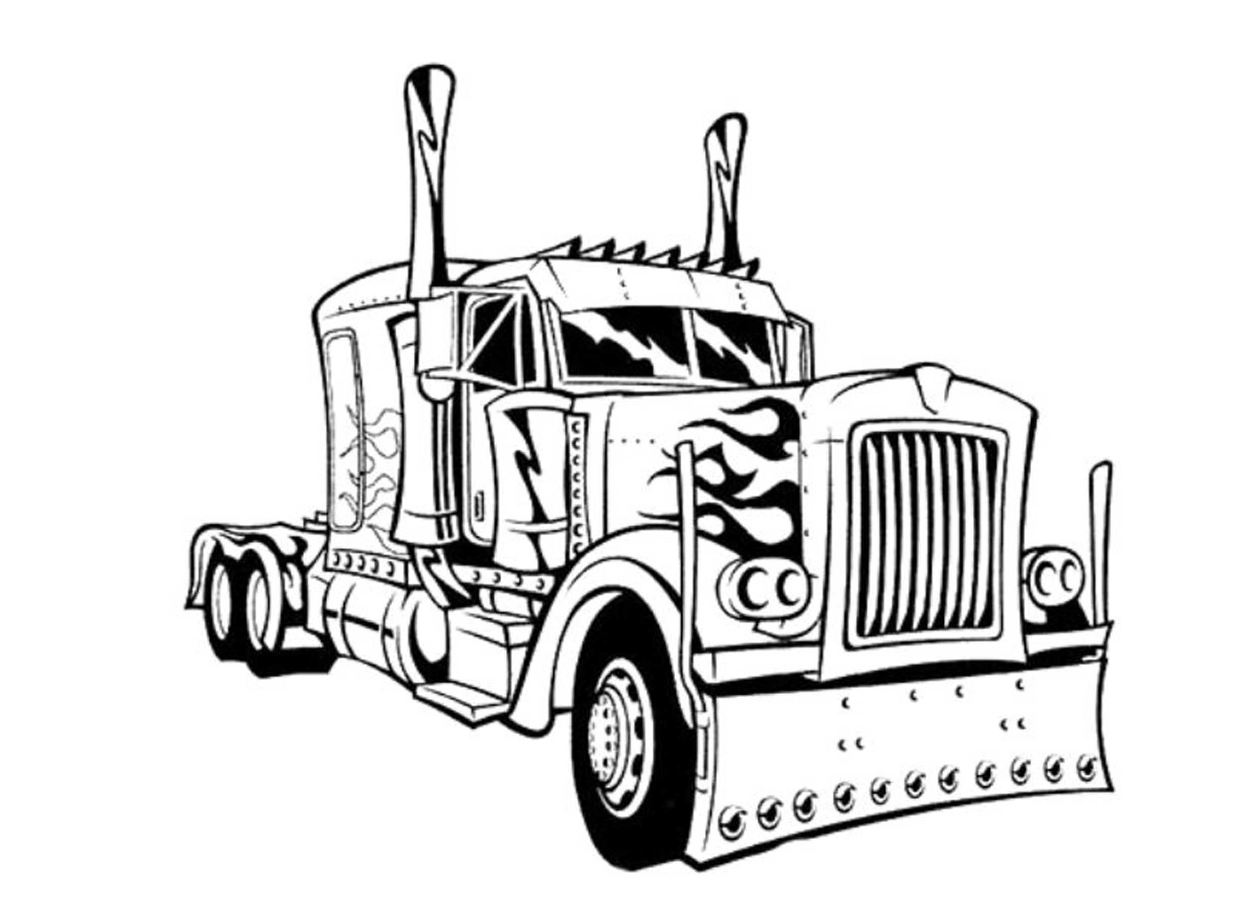 Inviting Kids Transformers Coloring Pages on kenworth big rig truck