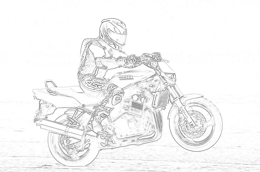 Motorcycle Rider Doing a Wheelie Coloring Page