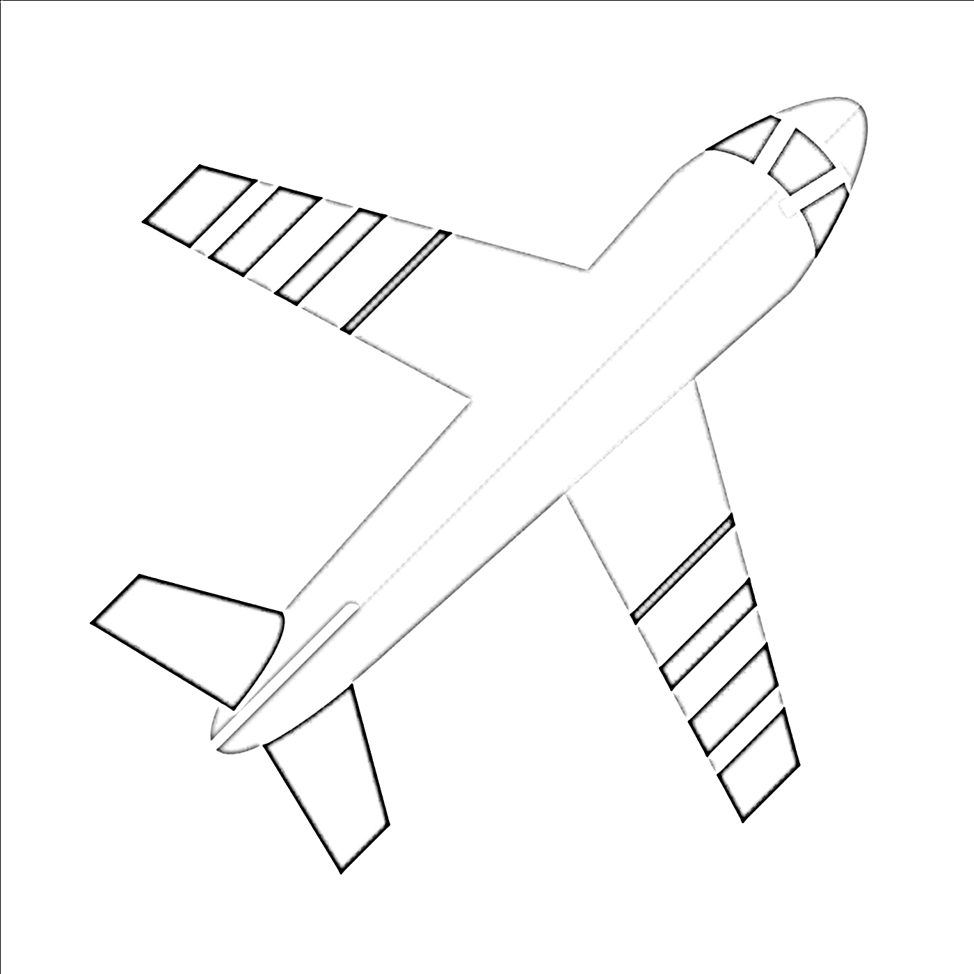 Topview airplane coloring page