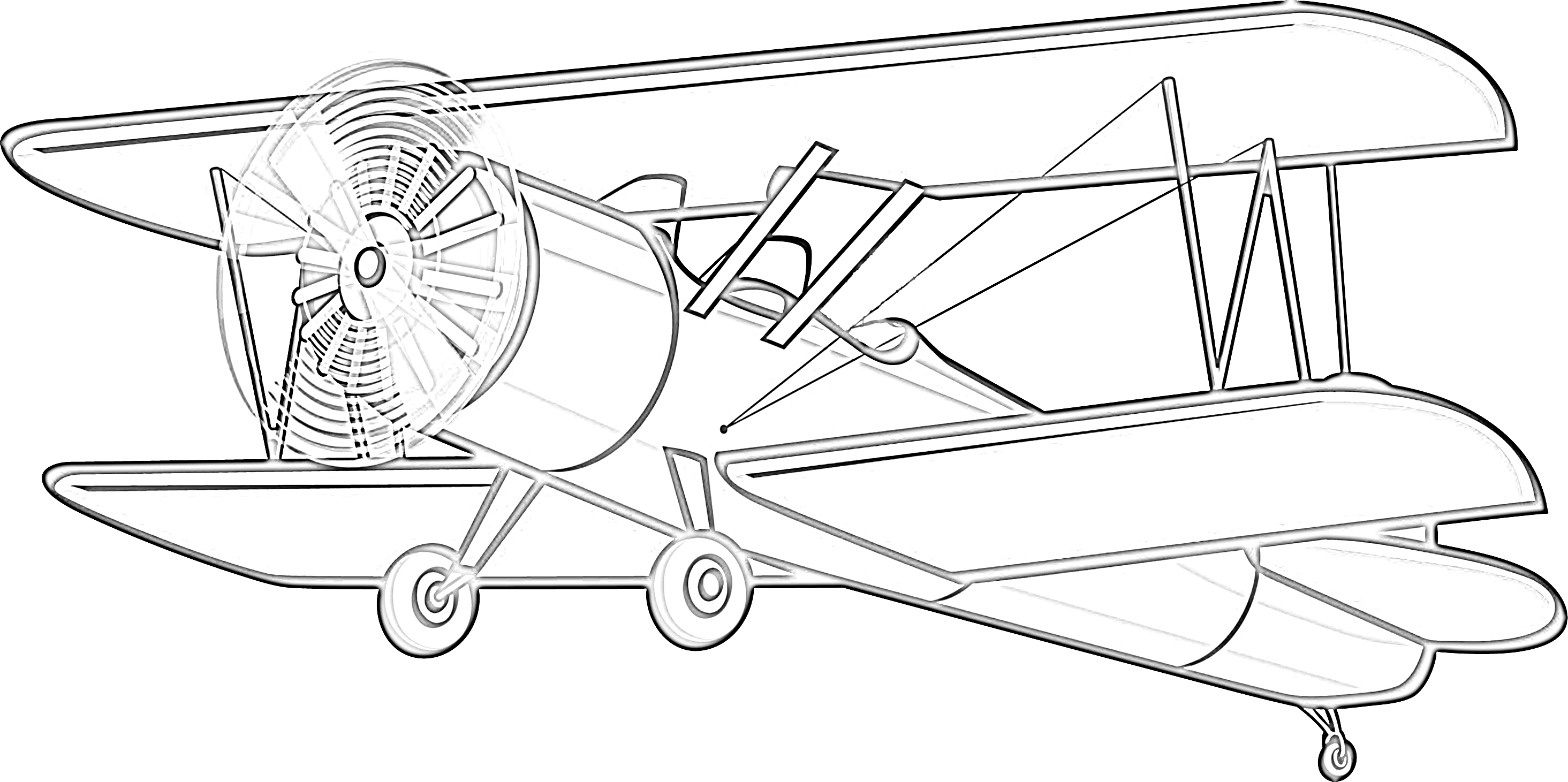 Classic airplane coloring page