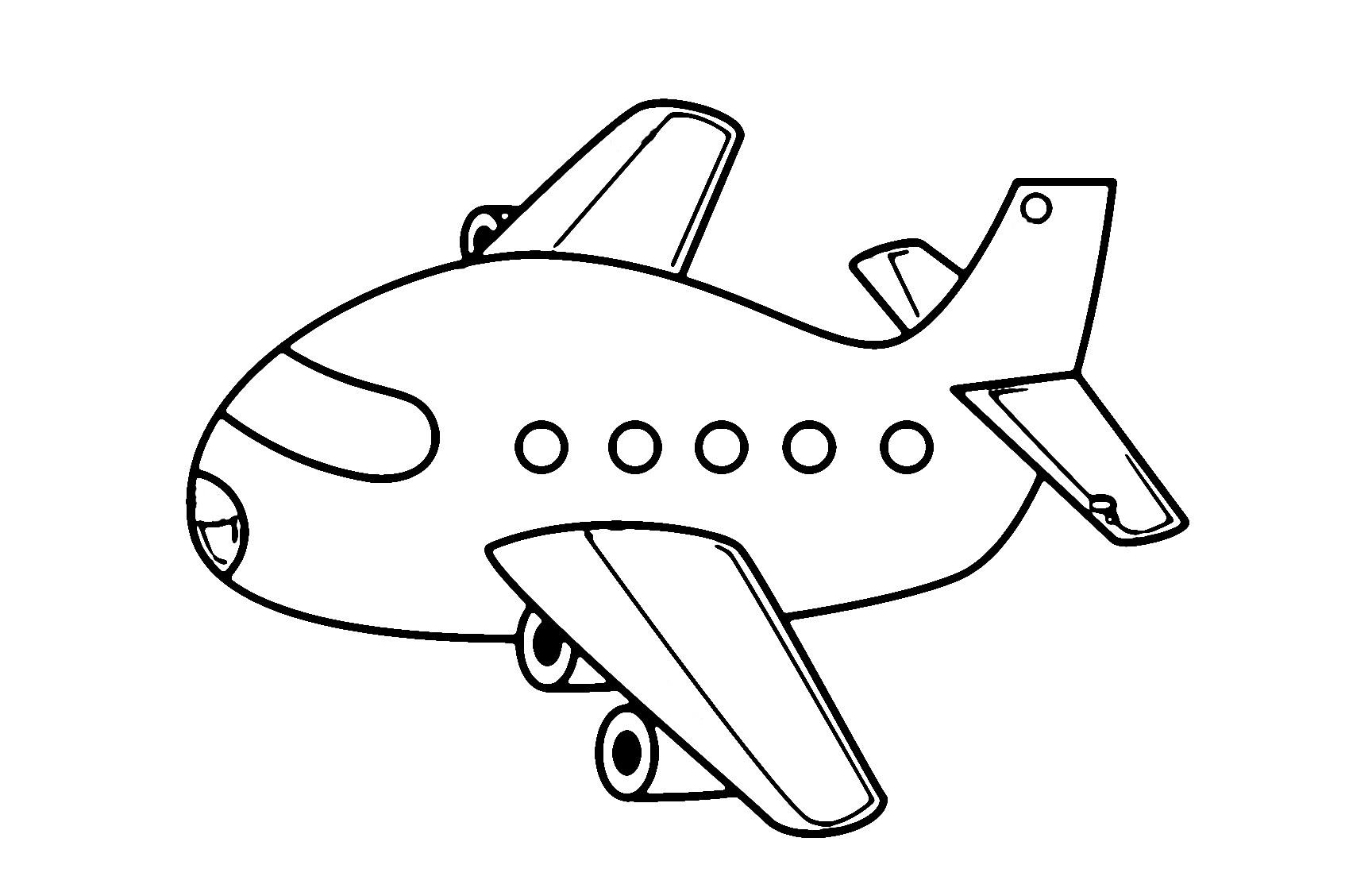 Cartoon airplane coloring page