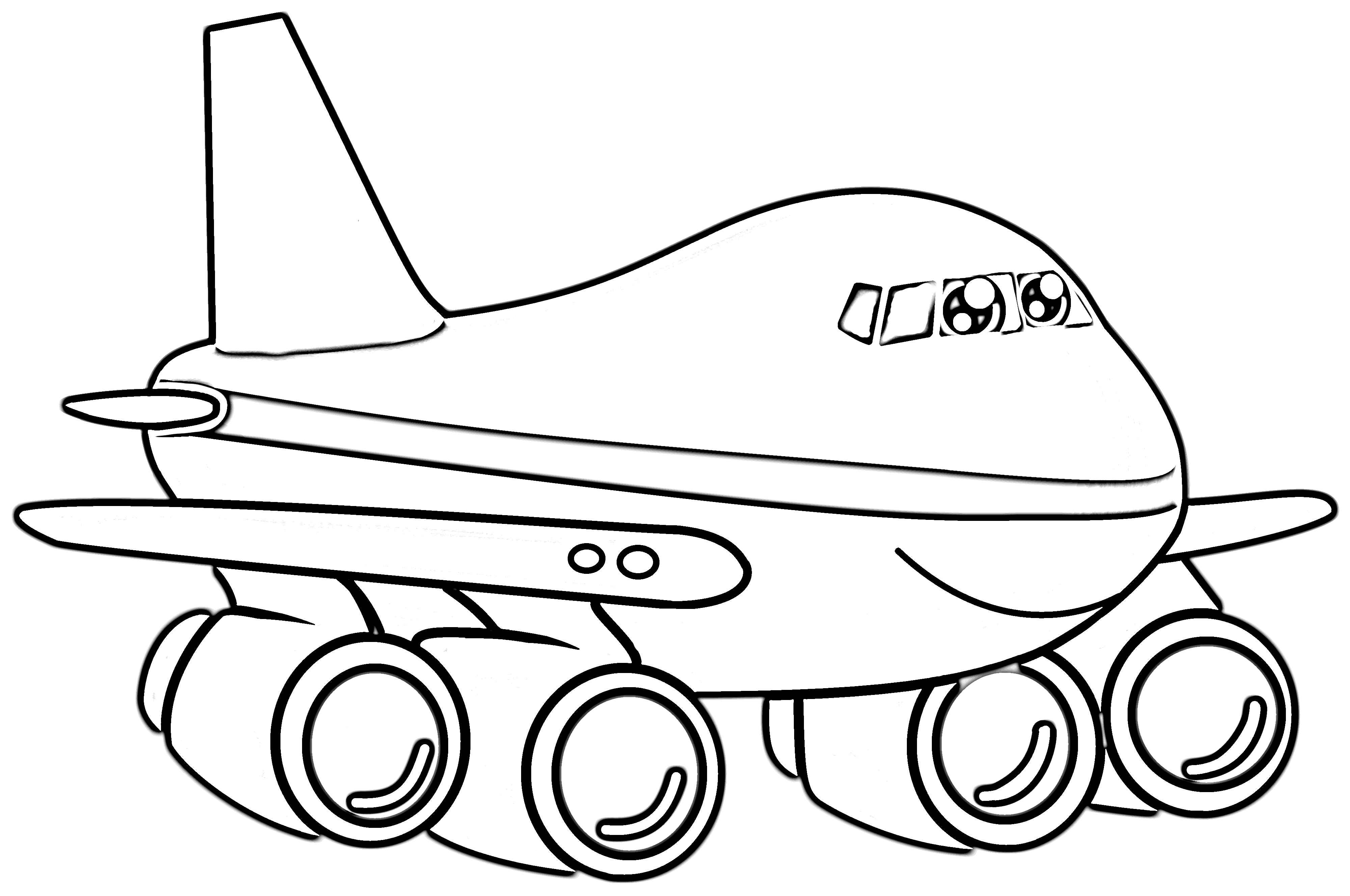 Smiling airplane coloring page