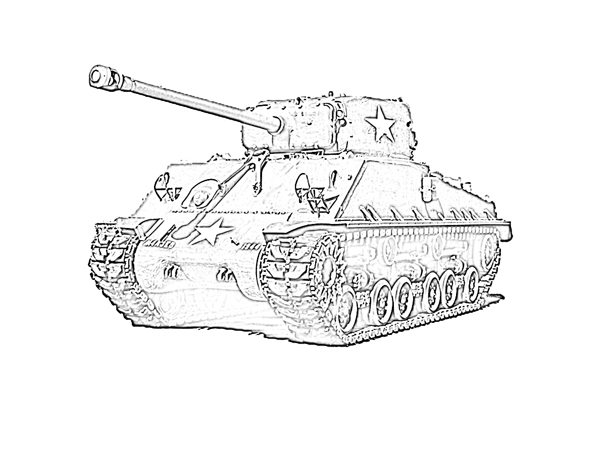 Army tank star coloring page
