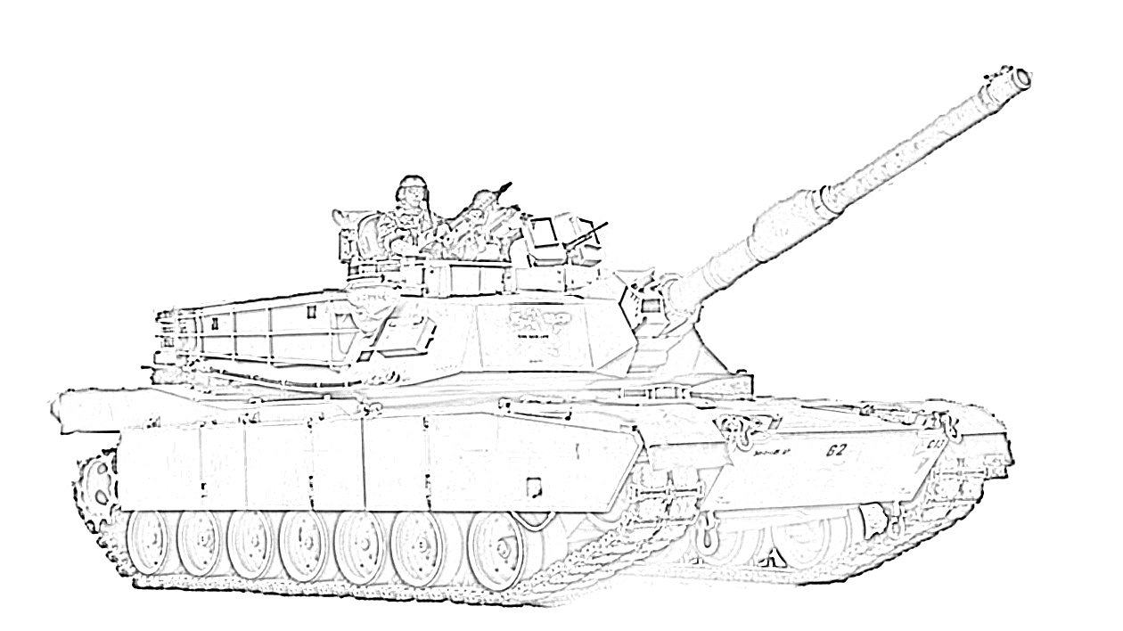 Army tank with man coloring page