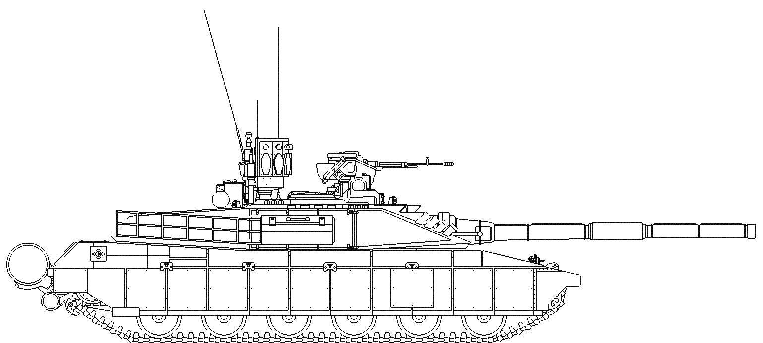 Army tank side view coloring page