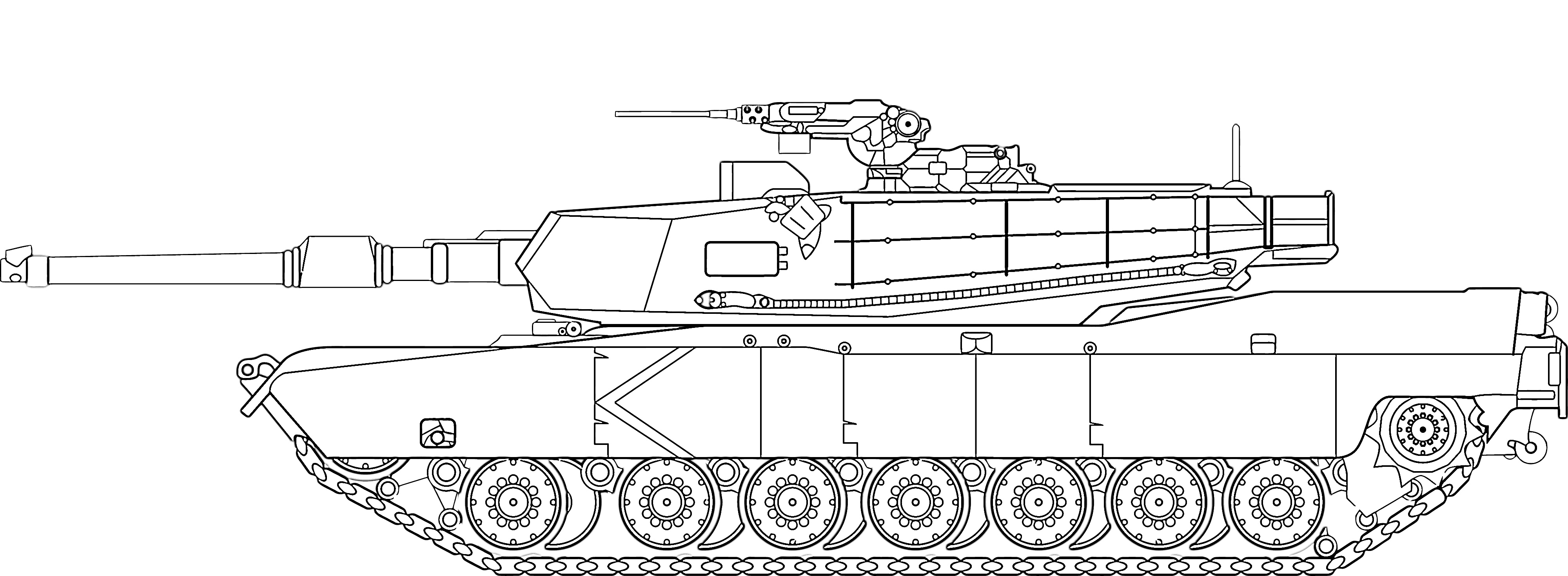 Army tank rolling in coloring page