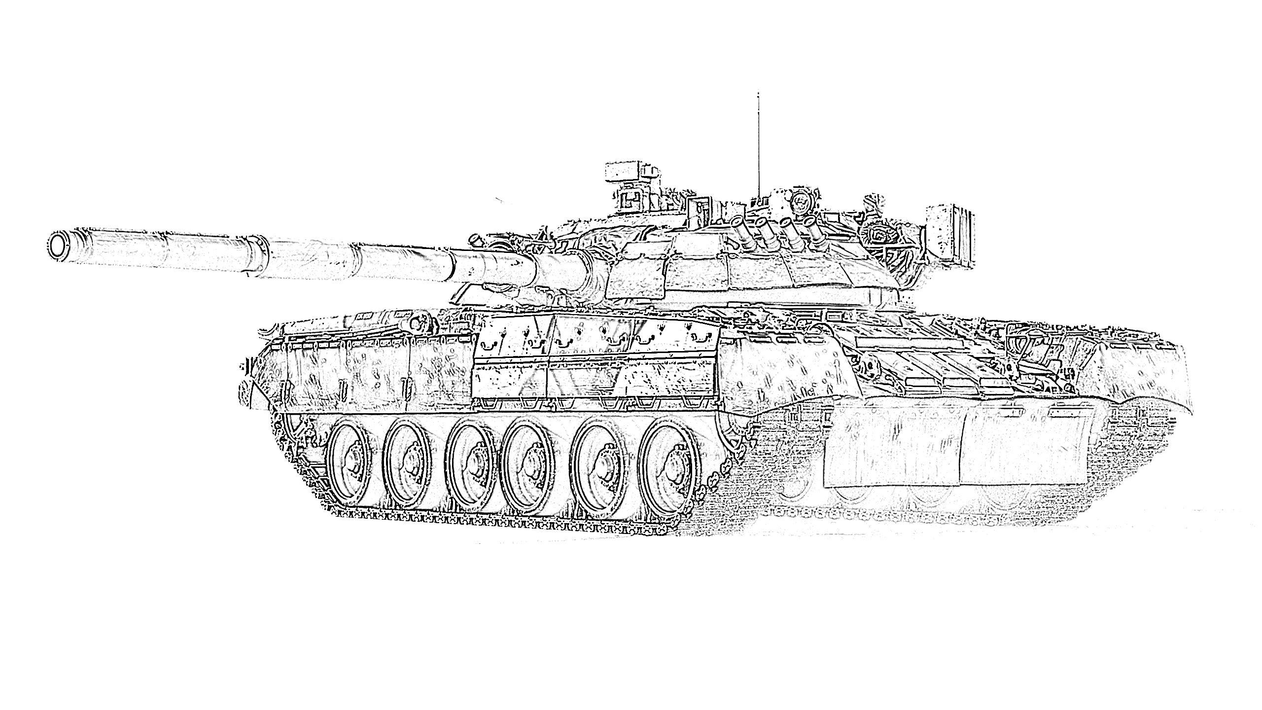 Army tank ready to fire coloring page