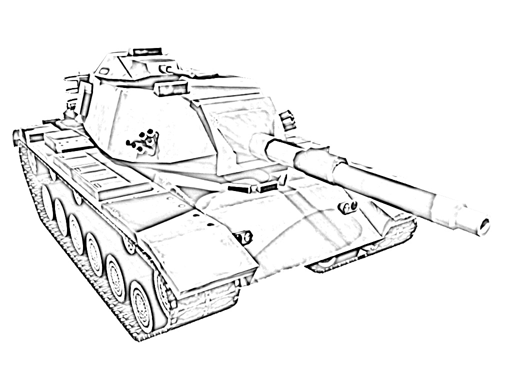 Army tank military coloring page