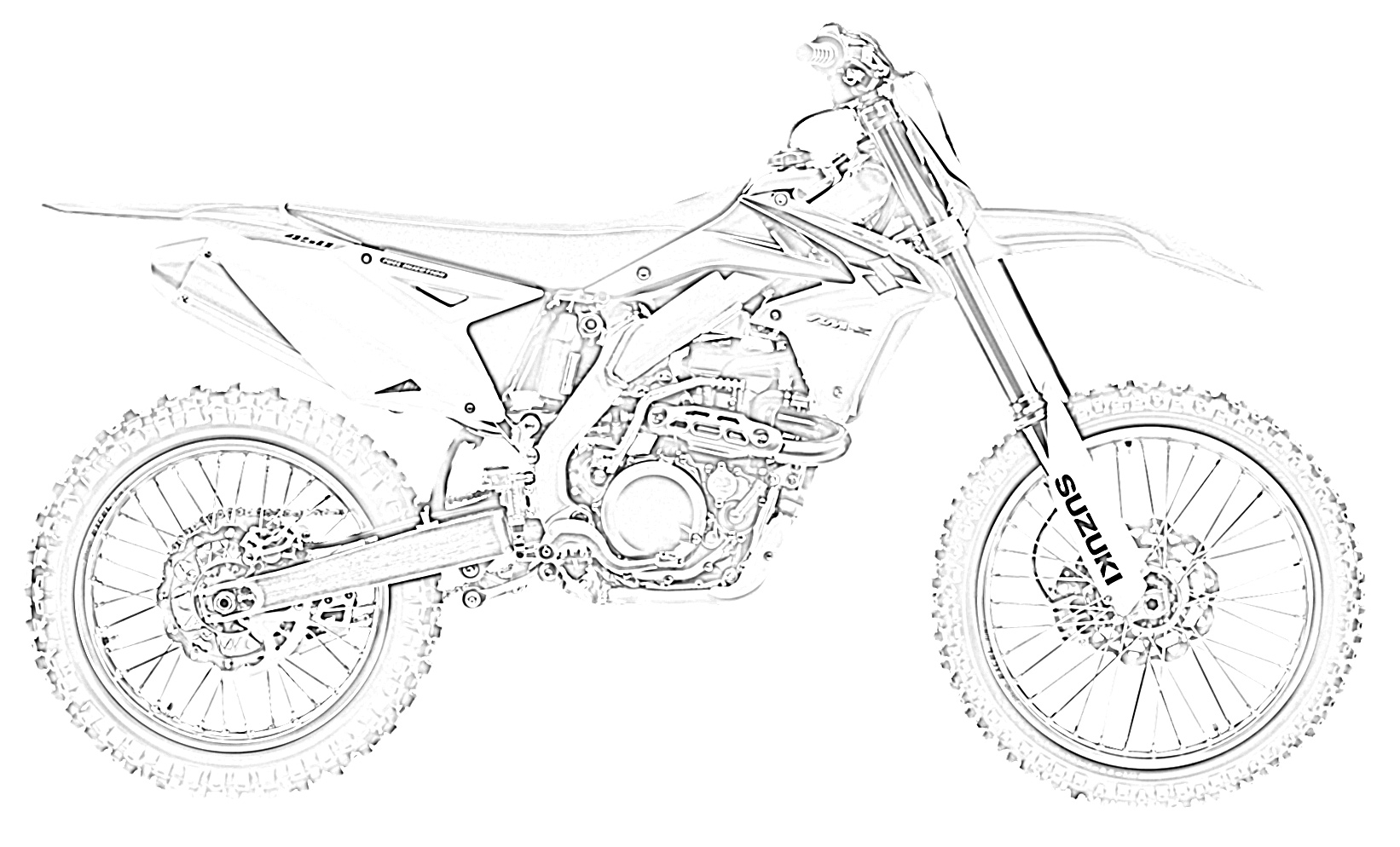 Dirt bike right side coloring page