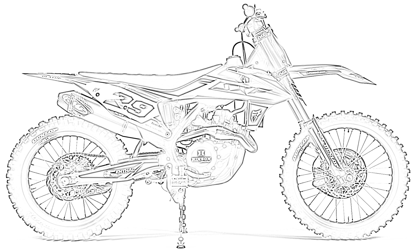 Dirt bike right side view coloring page