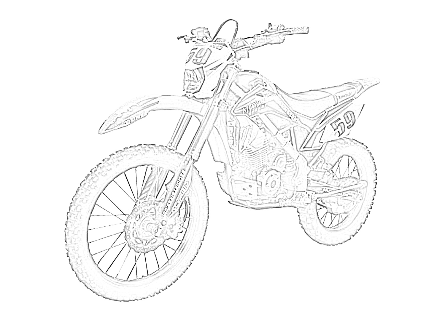 Dirt bike left coloring page