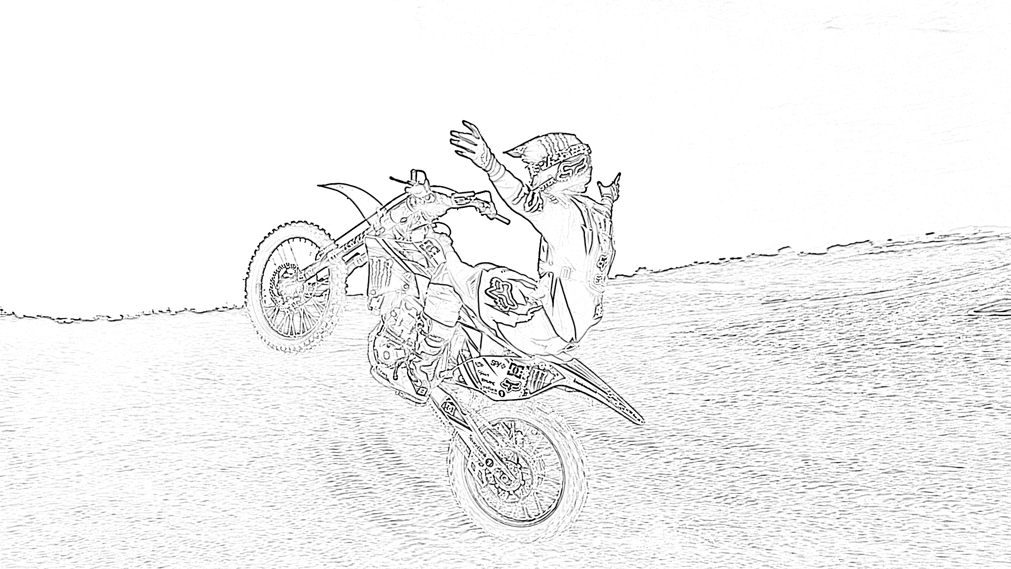 Dirt bike wheelie coloring page