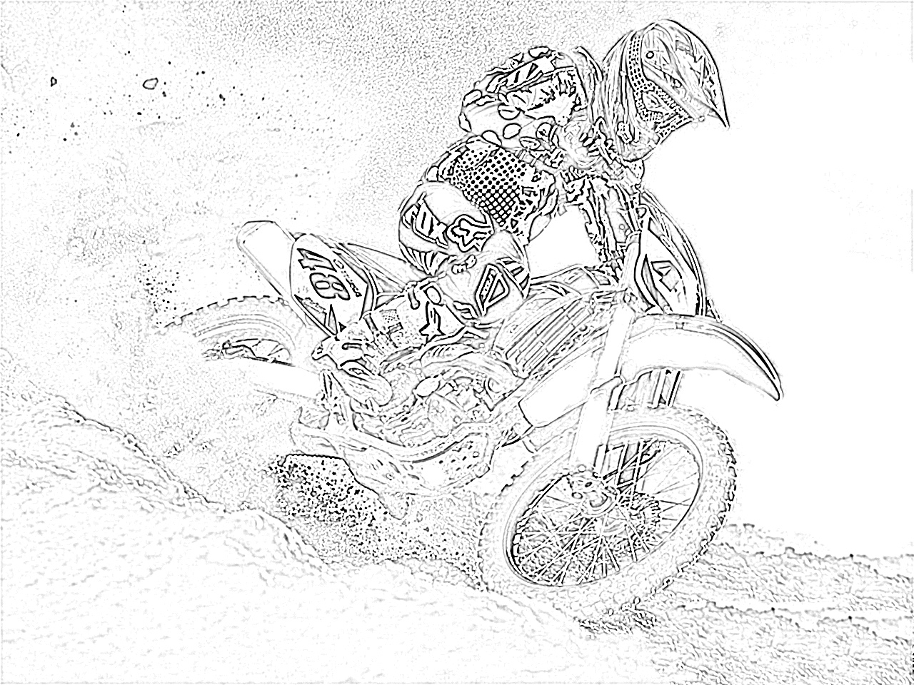 Dirt bike rooster tail coloring page
