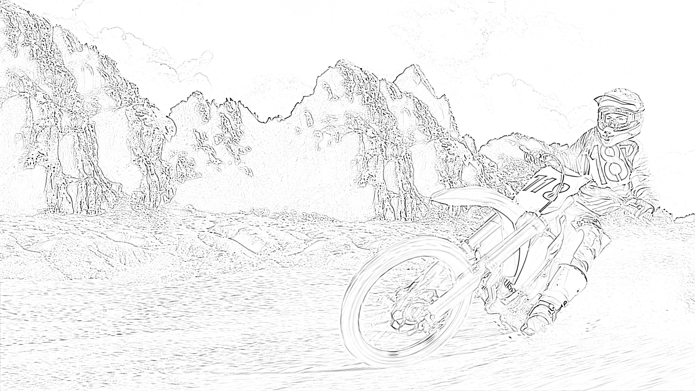 Dirt bike mountain scene coloring page