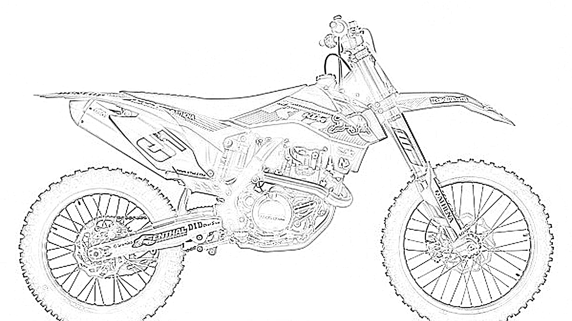 Dirt bike right coloring page