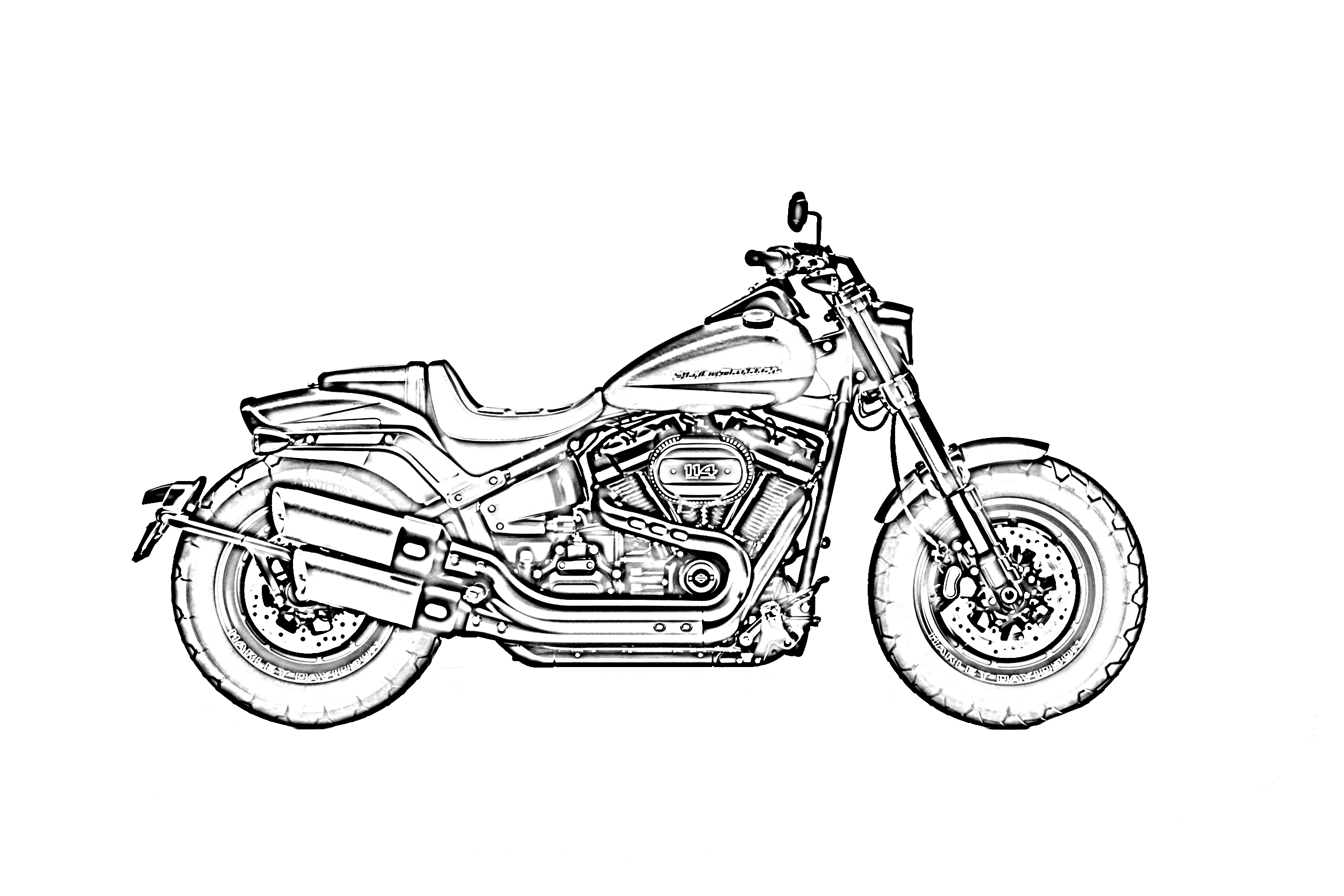 Harley davidson sideview coloring page