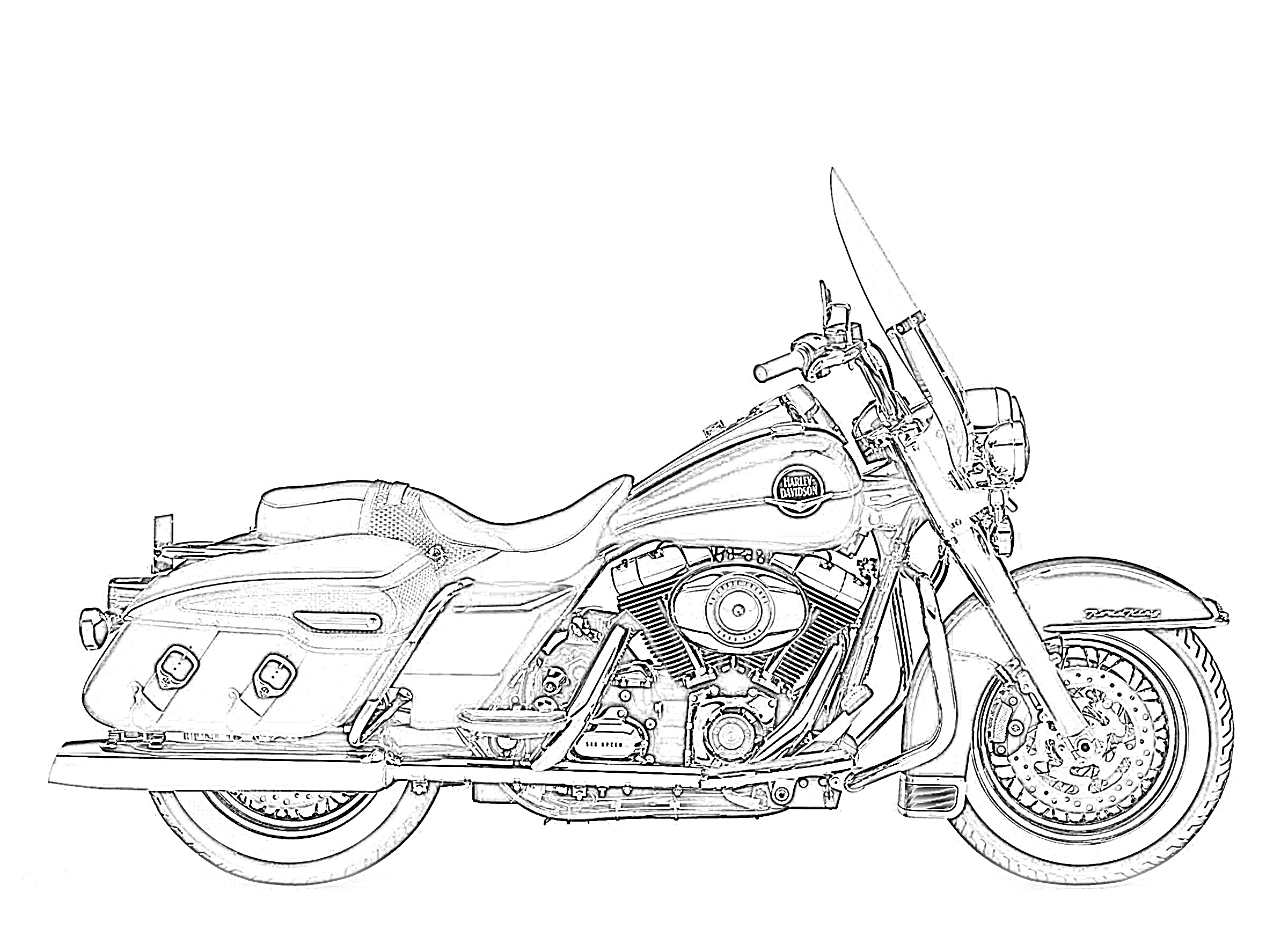 Harley Davidson road king sideview coloring page