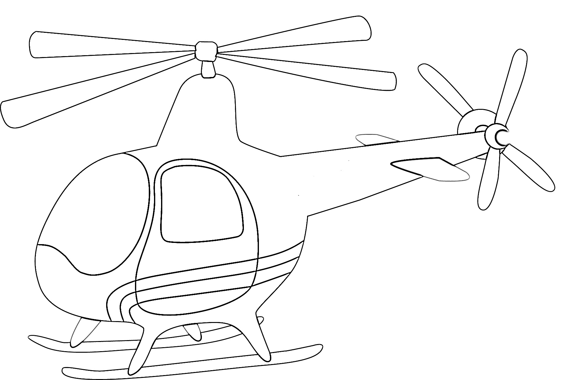 Cute helicopter cartoon coloring page