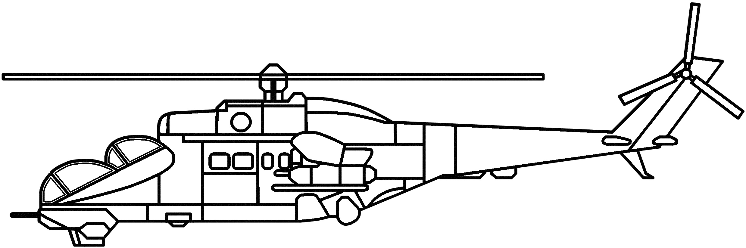 Helicopter side view coloring page