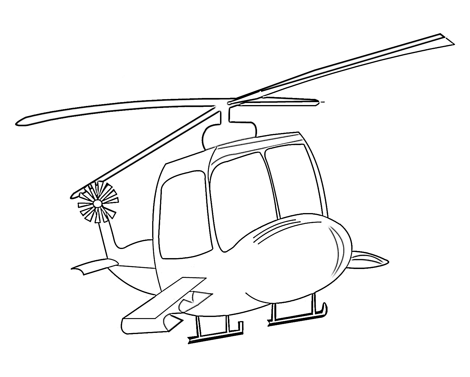 Helicopter cartoon coloring page