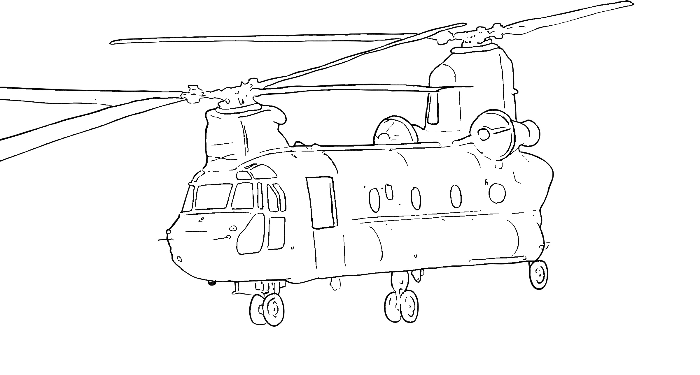 Military helicopter coloring page