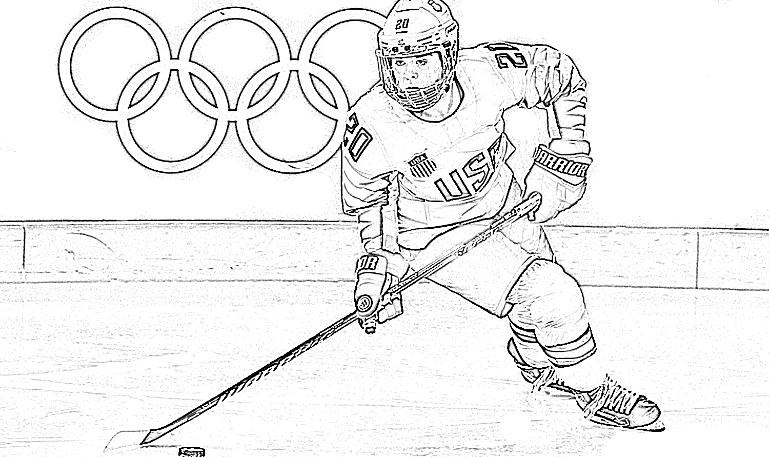 Olympic hockey player coloring page