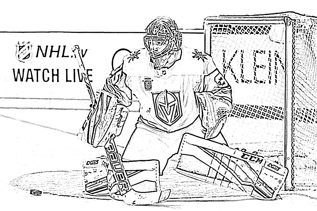 Goalie making a save coloring page