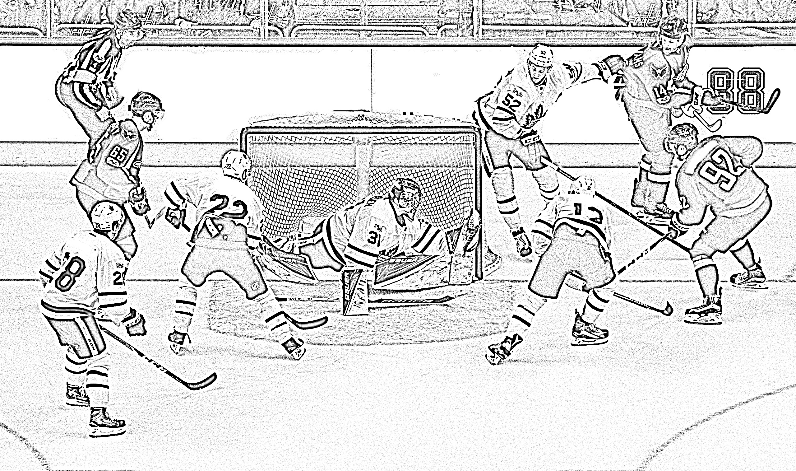 Hockey players around net coloring page