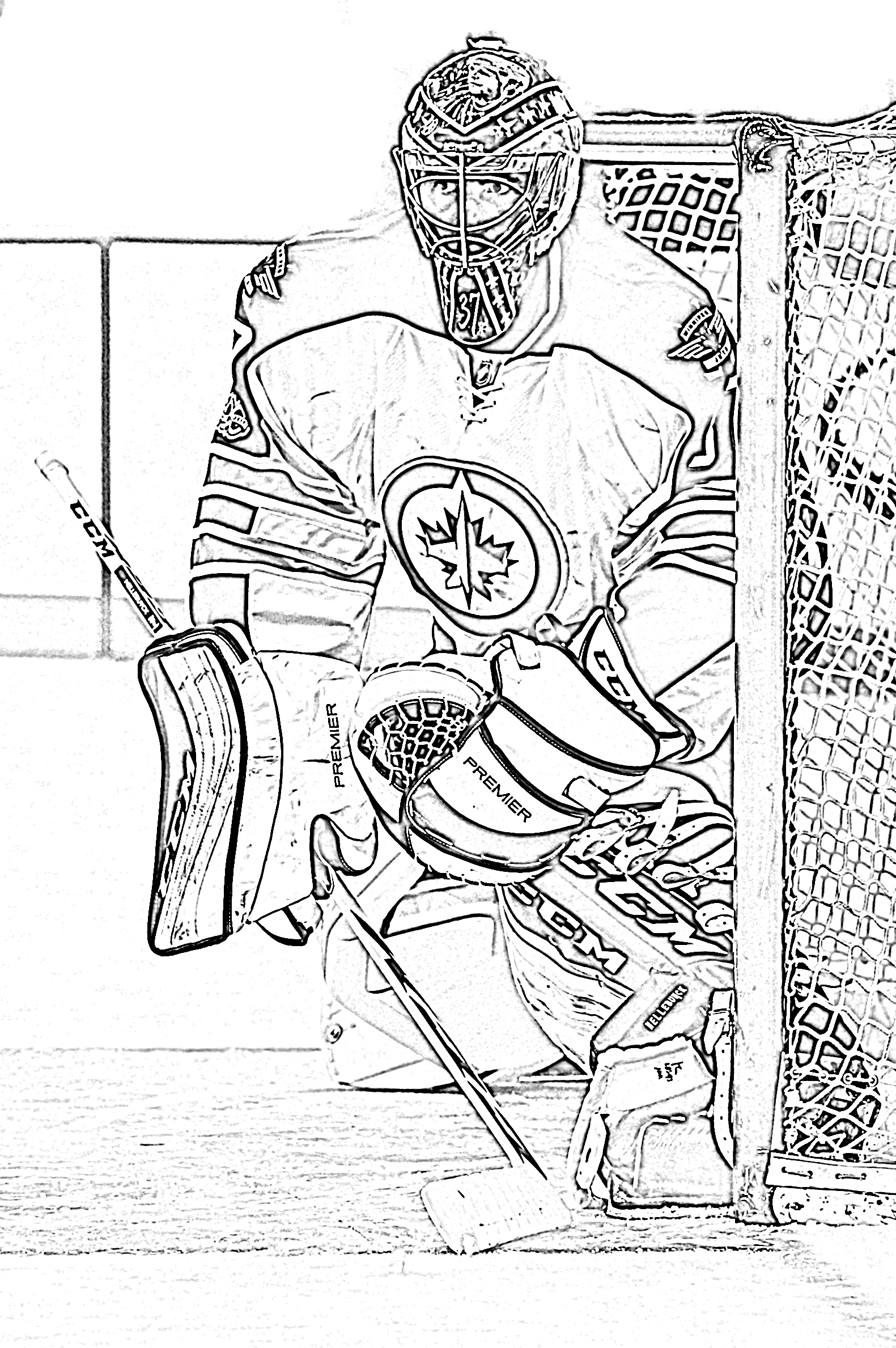 Goalie in net coloring page