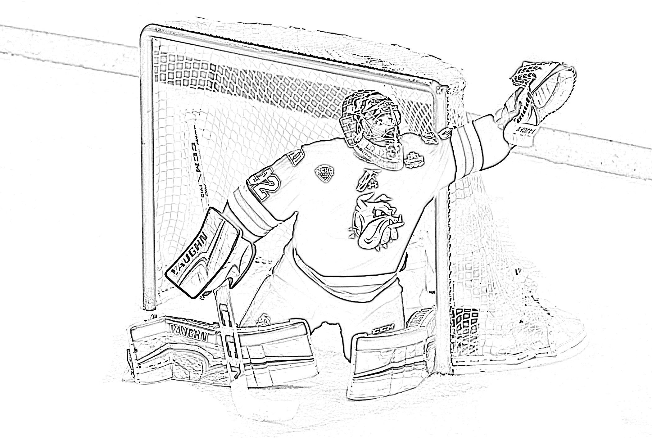 Hockey goalie making a save coloring page