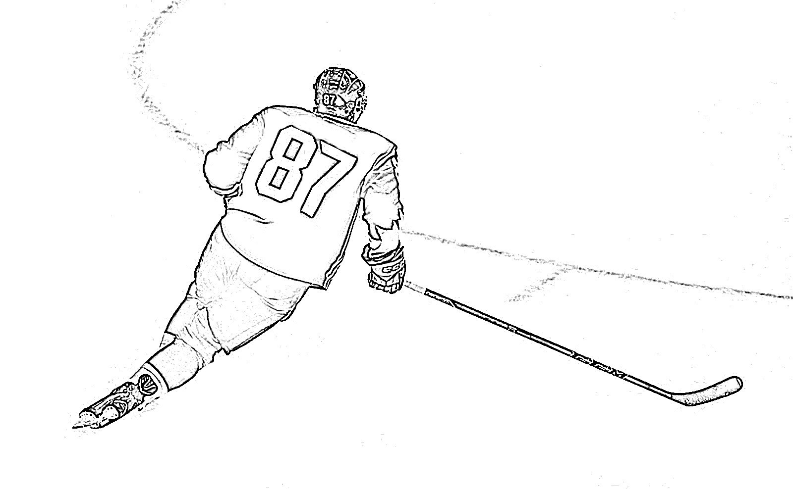 Hockey player skating coloring page