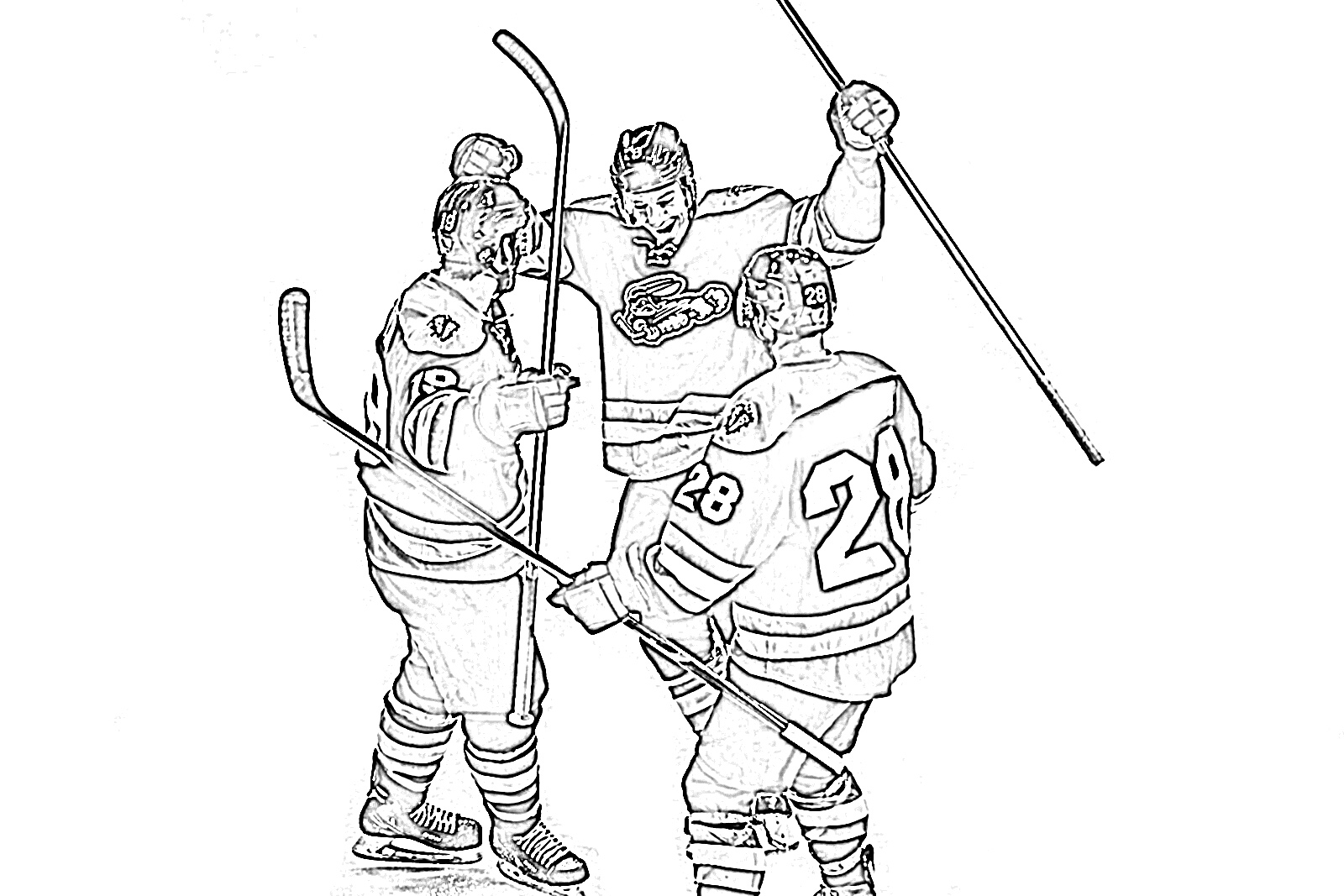 Hockey players celebrating coloring page