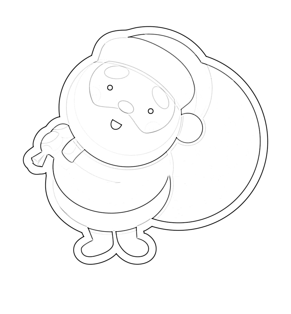 Cute Jolly Santa Clause with presents coloring page
