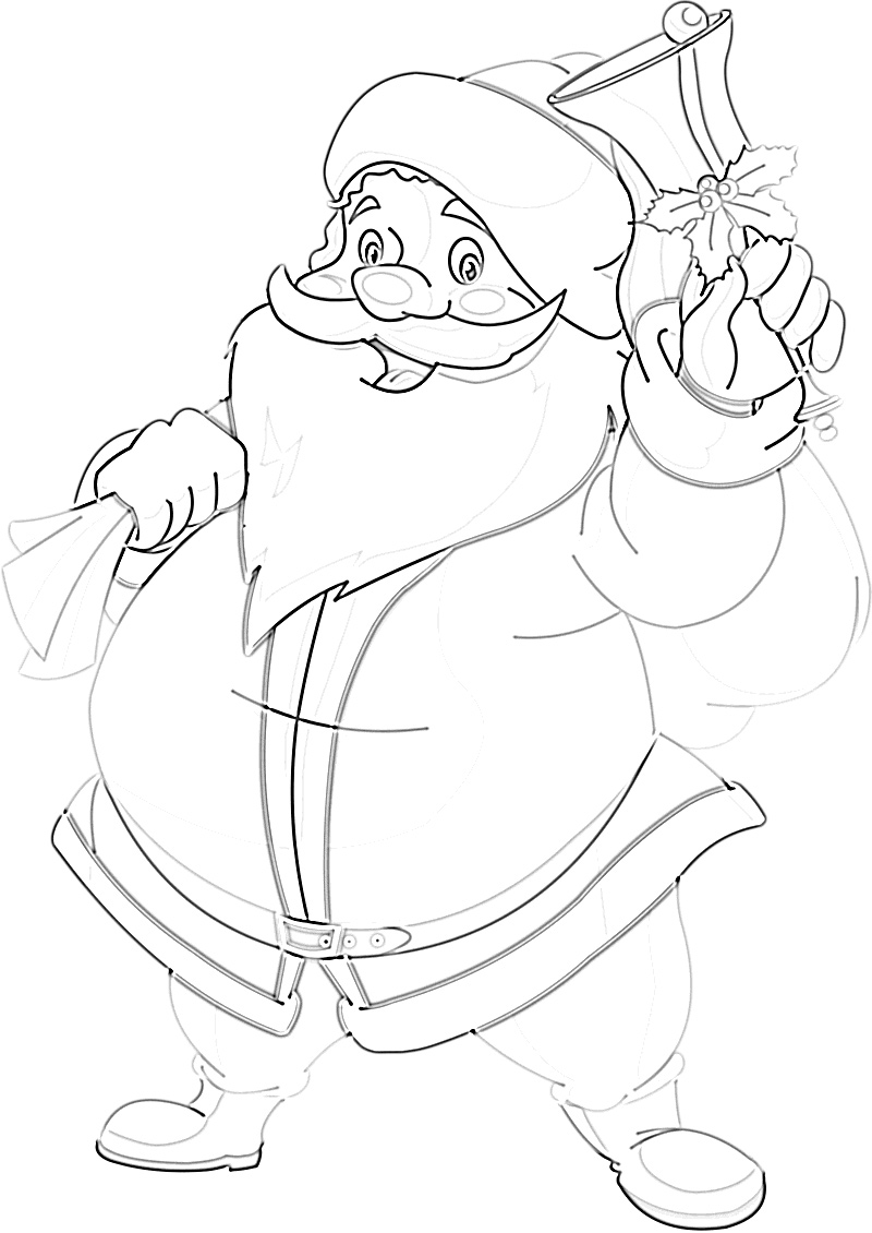 Cute Jolly Santa Clause waving with presents coloring page