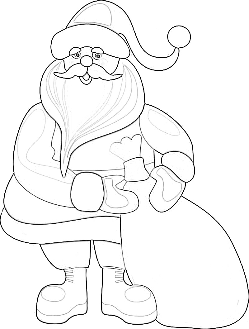 Cute Jolly Santa Clause with gifts coloring page