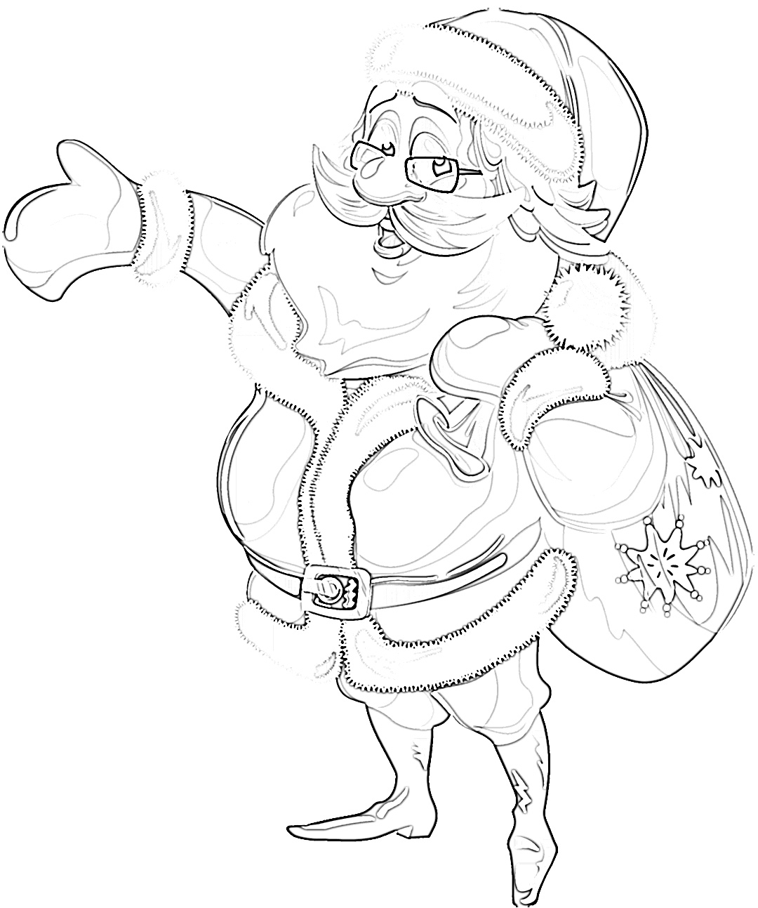 Cute Jolly Santa Clause showing the way coloring page
