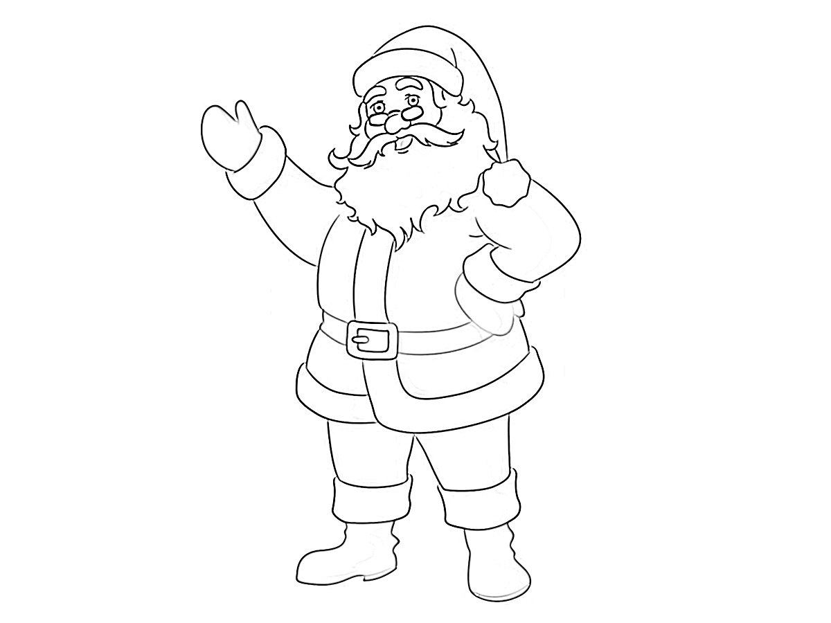 Jolly Santa Clause waving coloring page