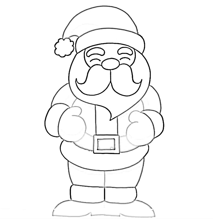 Jolly Santa Clause rubbing belly coloring page