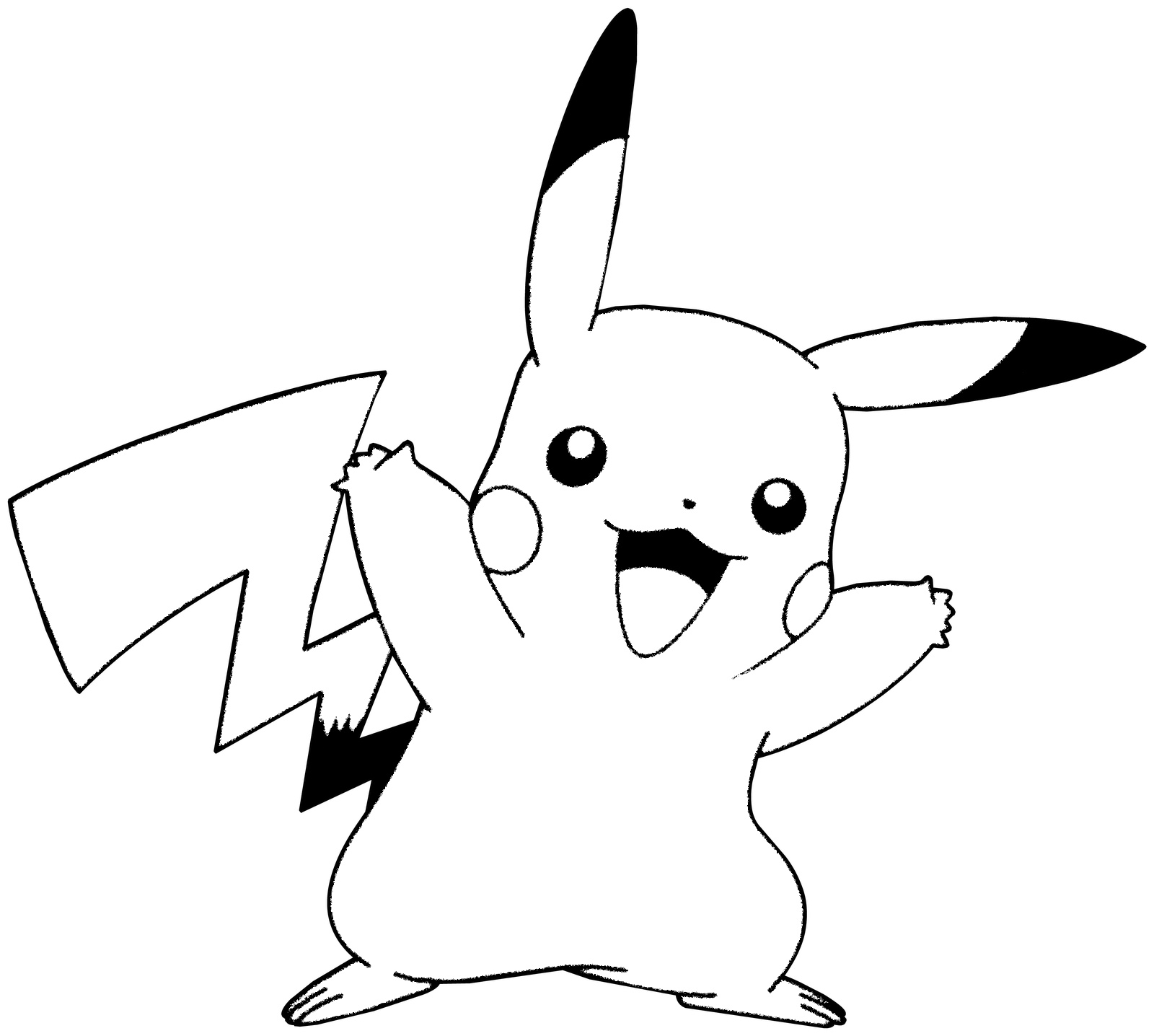 Pikachu cheering coloring page