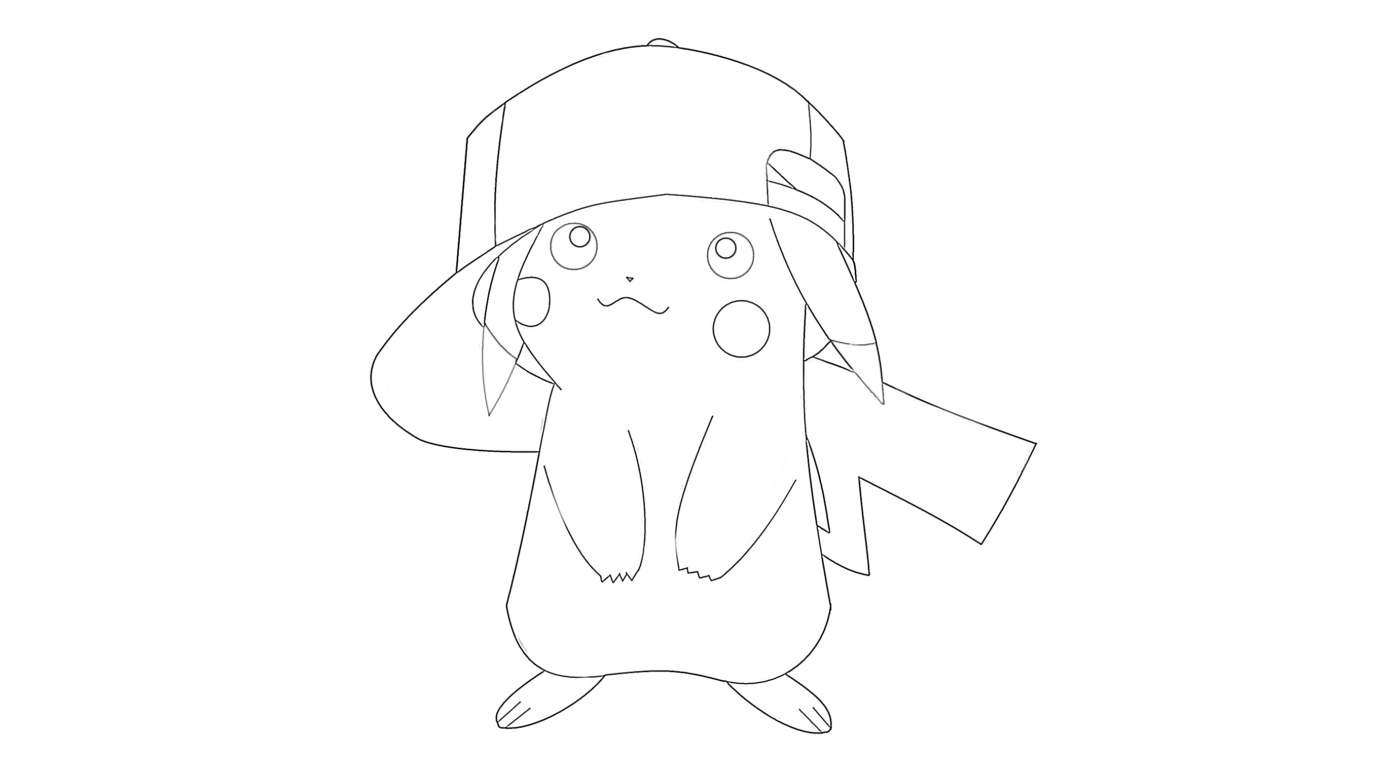 Pikachu wearing a hat coloring page