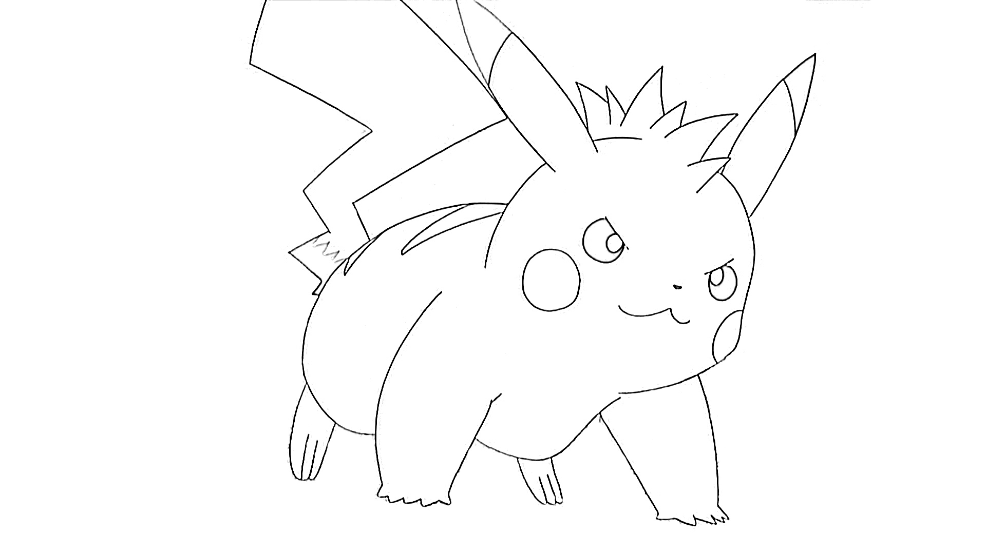 Determined Pikachu coloring page