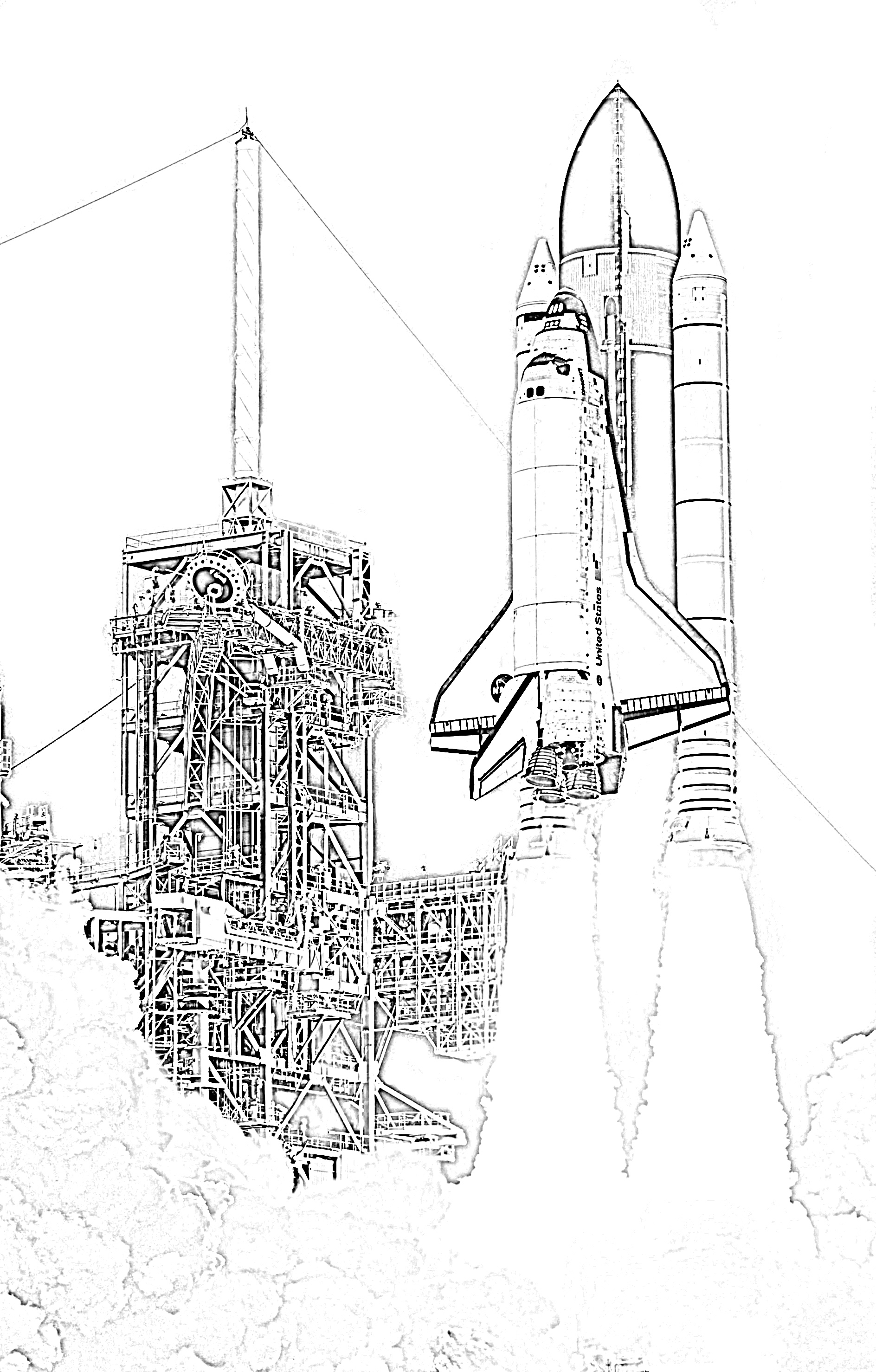 Rocket ship launching coloring page
