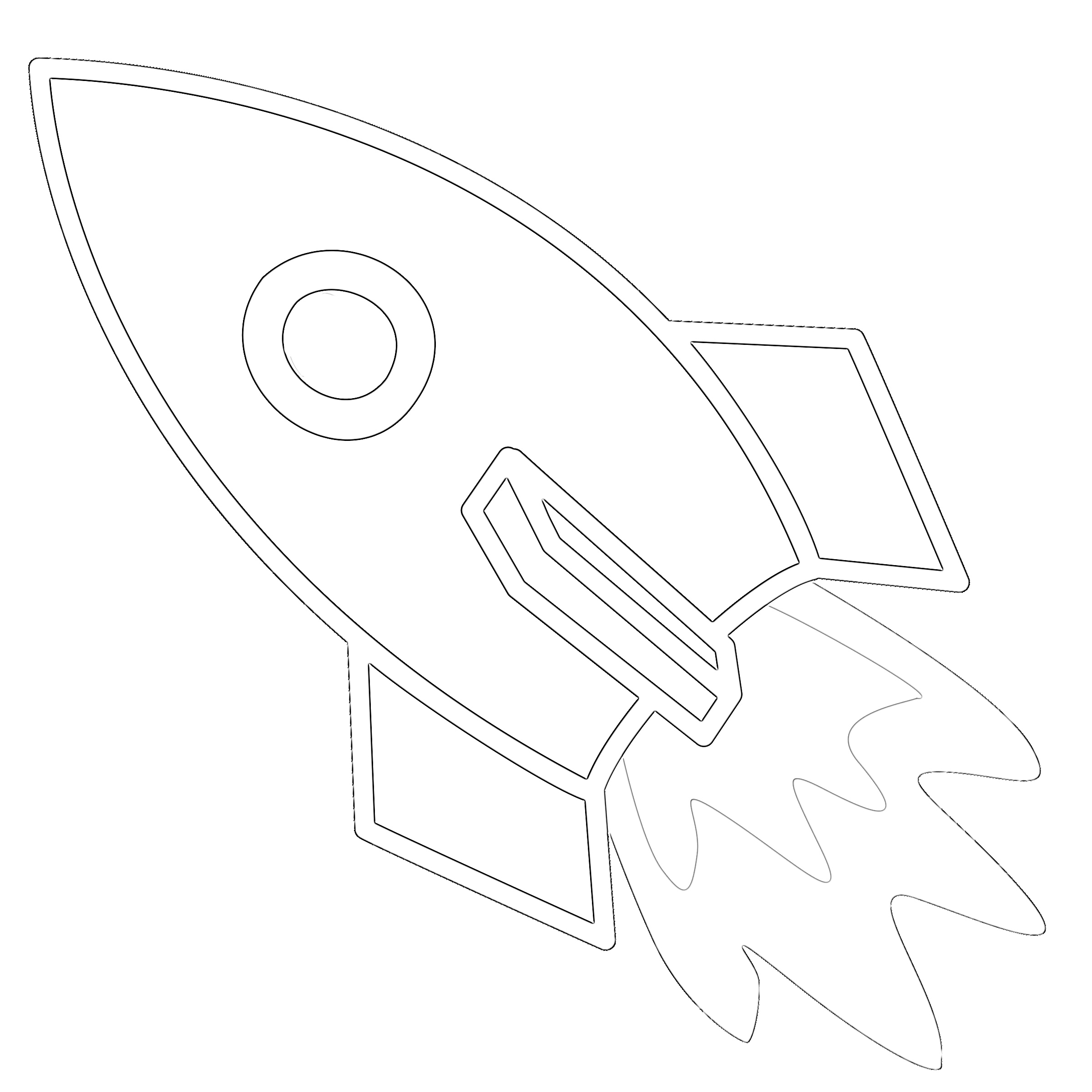 Rocket ship cartoon coloring page