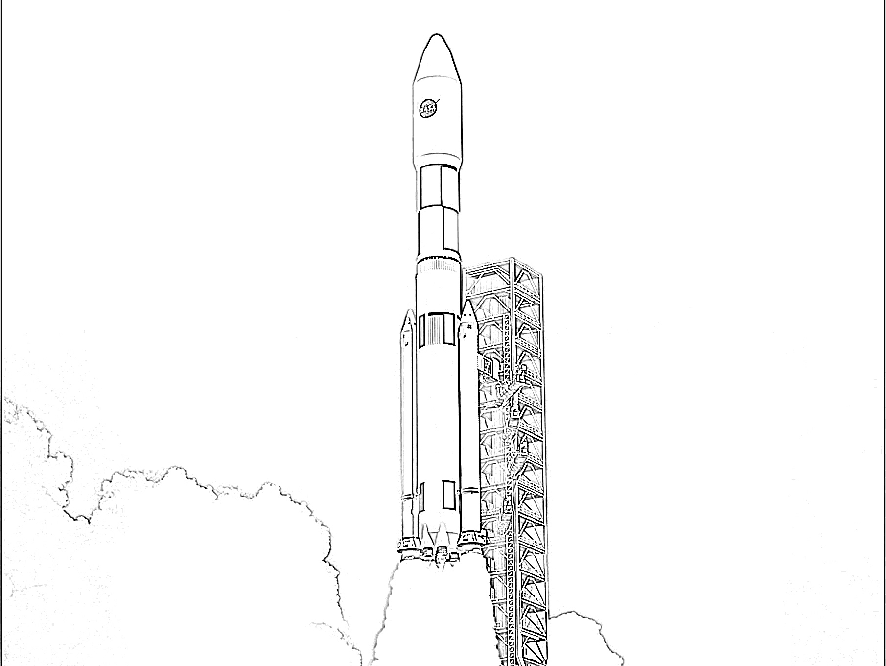 Rocket ship ready to launch coloring page