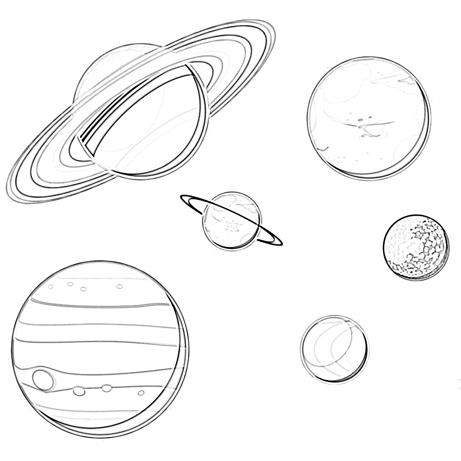 Solar system multiple planets coloring page