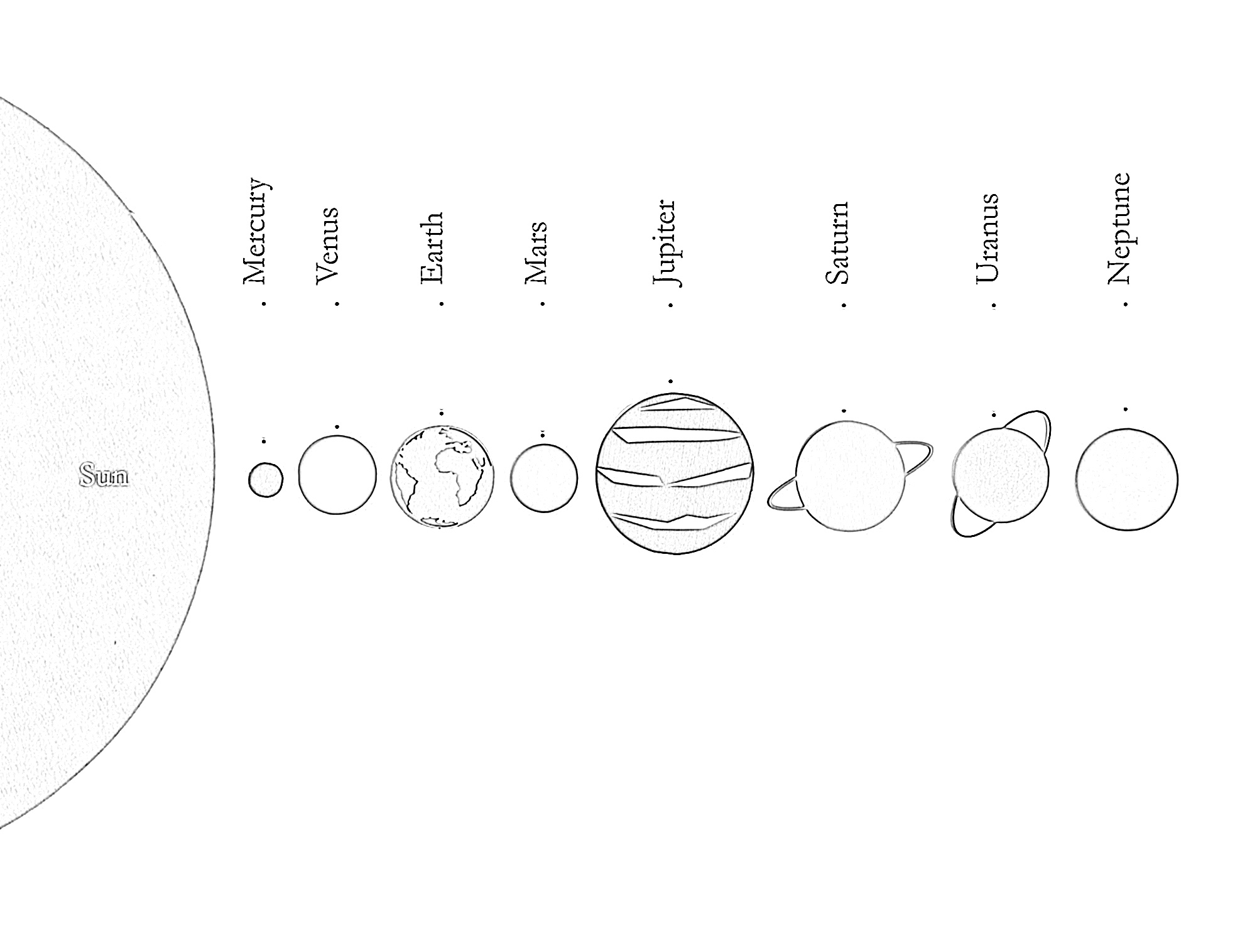 Solar system line up coloring page
