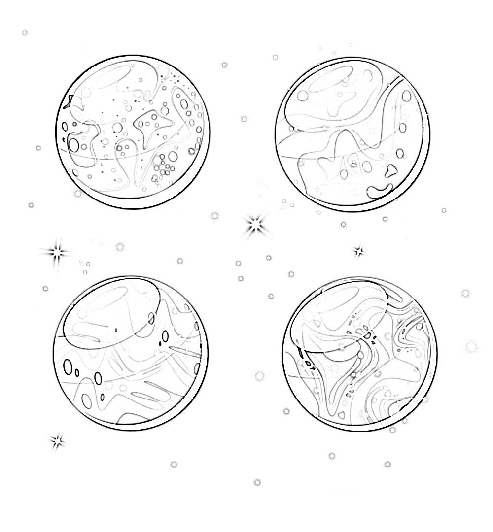 Solar system 4 planets coloring page