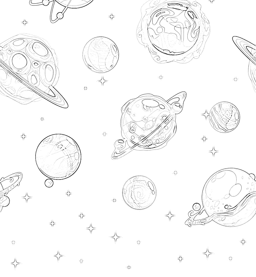 Solar system creative coloring page