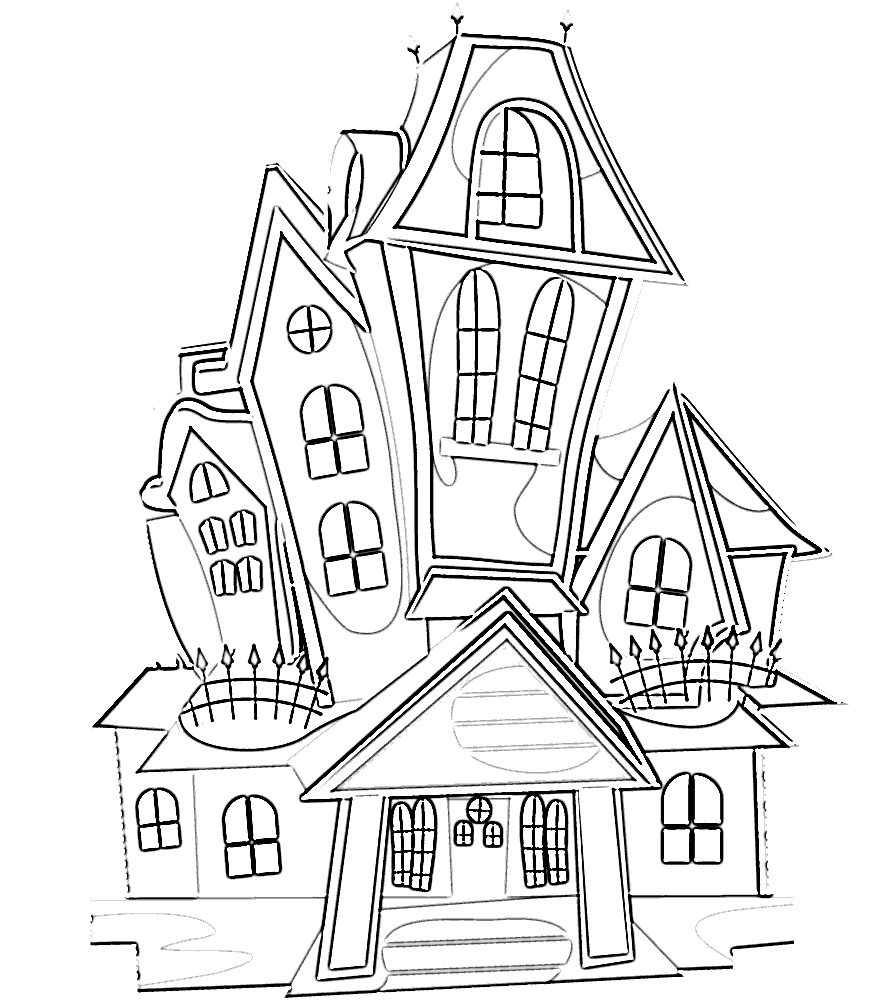 Spooky Halloween Haunted House Coloring Page