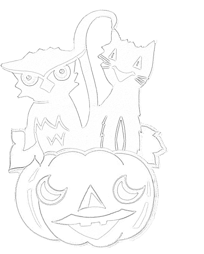 Spooky Halloween Owl and Cat Coloring Page